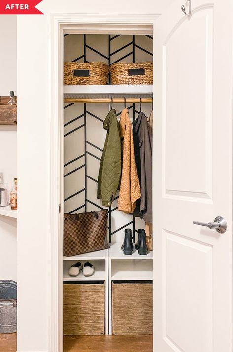 Ashley wanted to turn the mess of a closet into something that would work for the whole family. #beforeandafter