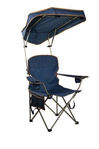 Folding Portable Chair With Sun Shade Canopy For Patio Outdoor