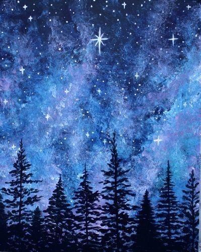 Aquarelle Ciel Etoile Peinture De Galaxie Peinture Ciel
