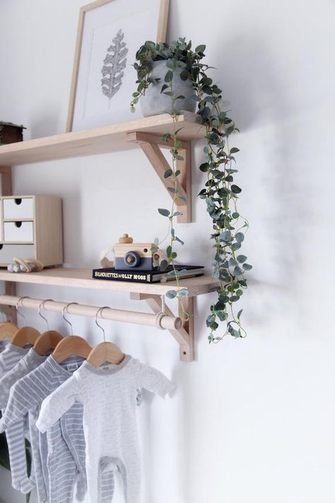 Bracket Shelf, Tasmanian Oak Shelf with Hanging Rod, Wooden Nursery Shelving, Timber Clothes Rack, Scandinavian Shelves