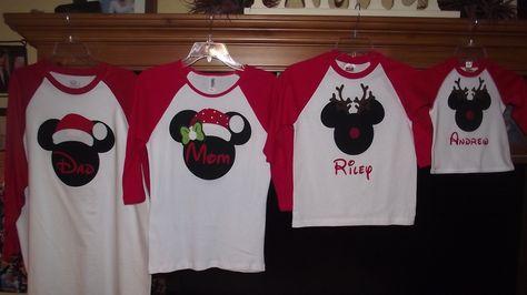 58cb527d Disney Mickey Minnie Mouse Applique Holiday Santa Rudolf Reindeer T-Shirt  Custom Personalized Christmas. $19.00, via Etsy.