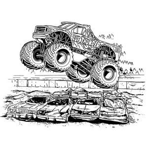 Monster Truck Coloring Pages Blue Thunder