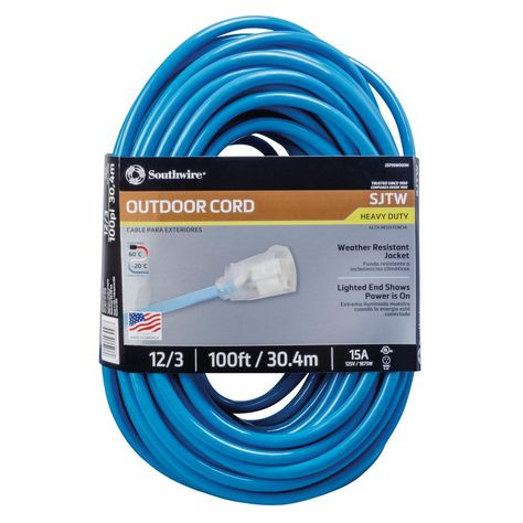 Southwire 100 Ft 12 3 Sjtw Hi Visibility Outdoor Heavy Duty Extension Cord With Power Light Plug Blue Extension Cord Power Indicator Lights
