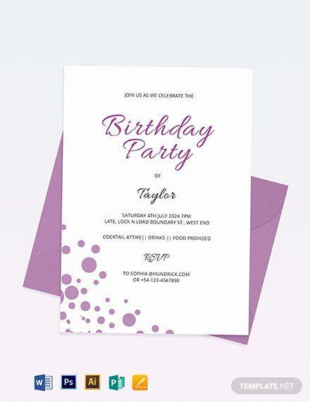 Microsoft Word Birthday Invitation Template Inspirational 34 Birthday Invit Party Invite Template Birthday Party Invitation Templates 16th Birthday Invitations