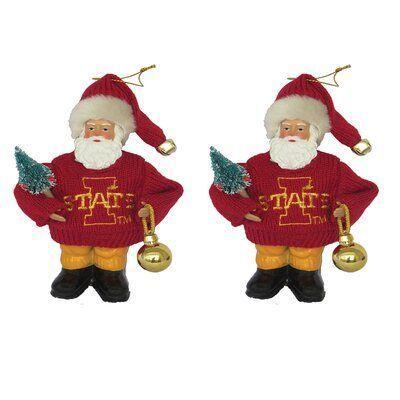 Santa S Workshop Ncaa Santa Hanging Figurine Ornament Set Of 2 Ncaa Team Iowa State University Iowastate Santas Workshop Iowa State University Ornament Set