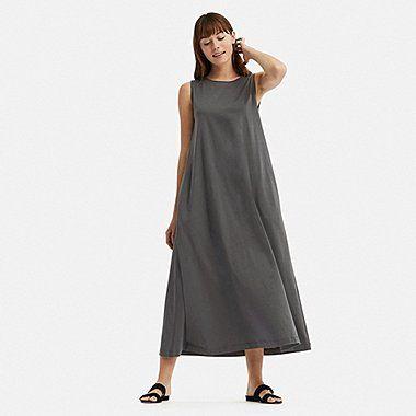 Sleeveless Dresses | UNIQLO US in 2021 | Sleeveless long dress, Uniqlo dress,  Long dress