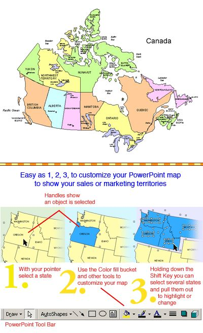 Image From The Editable Canadian Powerpoint Map 10 Provinces And 3 Territories With Editable Province Names Capitals Major Cities Color Alber