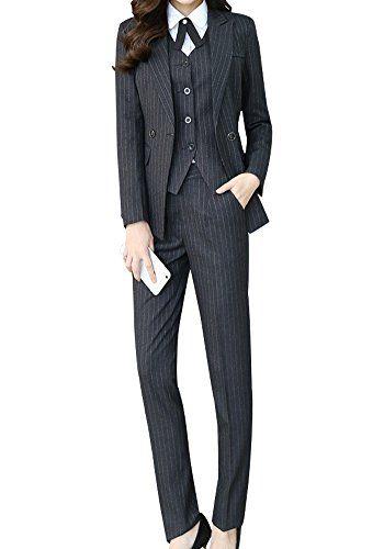 Lisueyne Women S Three Piece Office Lady Stripe Blazer Business Suit Set Women Suits For Work Pant Ves Suits For Women Womens Suits Business Suits And Sneakers