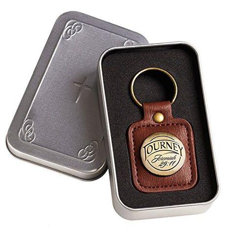 Brown Faux Leather Keychain | Journey - Jeremiah 29:11 | Christian Gifts for Men | Jodyshop