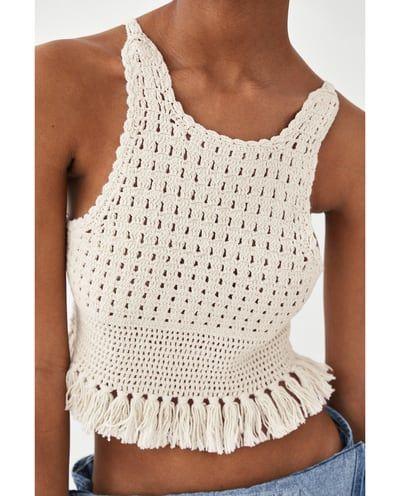 13dcf1caa1 Image 5 of FRINGED CROCHET TOP from Zara | Clothing | Crochet ...