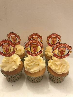 Manchester United Football Birthday Cupcake Cup Cake Toppers 12 Unofficial Manchester United Cake Birthday Cupcakes Cupcake Birthday Cake