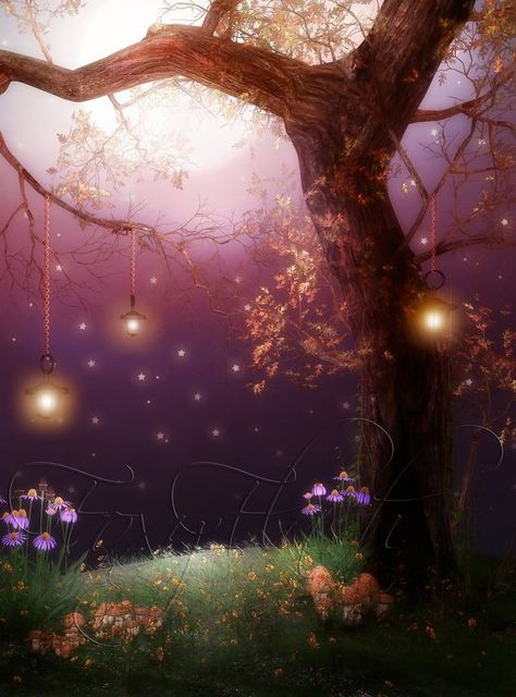 Spring backdrop Fairy tail Fall Digital background Photography prop Enchanted forest Magic light Moo