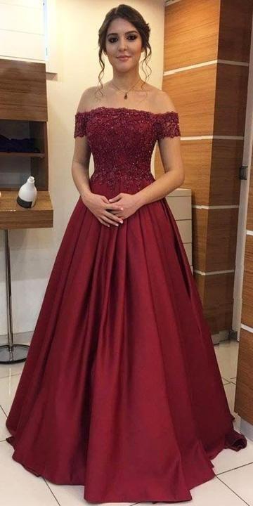 Off the Shoulder Appliqued Long Prom Dress School Dance Dress Fashion Winter Formal Dress YDP0382
