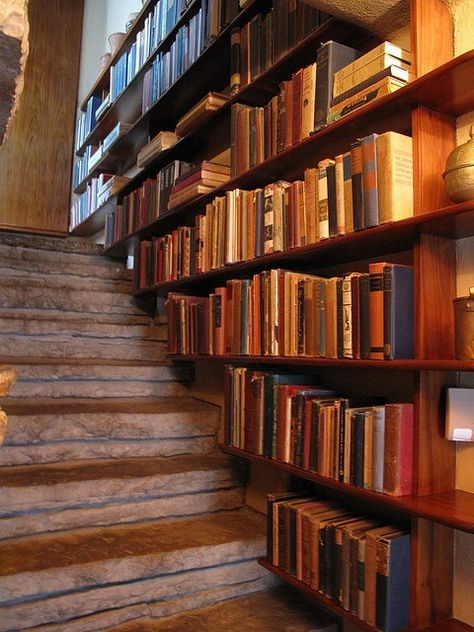 Frank Lloyd Wrights famous Falling Water House, in Pa. has these wonderful bookcases.