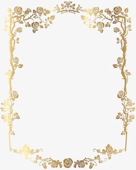 Golden Rectangular Frances Frontera Floral Imagen Png Molduras Para Convites De Casamento Convites Dourados Borda Para Convite
