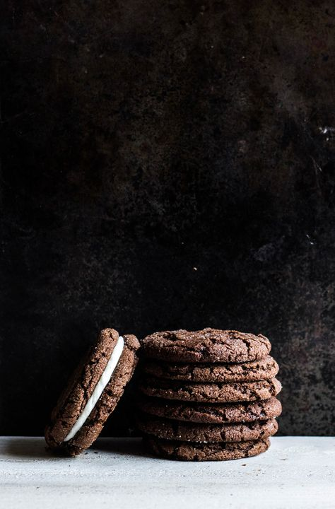 Chocolate Sugar Cookie Sandwiches with Peppermint Cream   Christmas Desserts