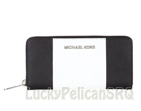 62d07447c5dc Michael Kors Jet Set Travel Center Stripe Continental Wallet Black White NWT  #MichaelKors #Continental
