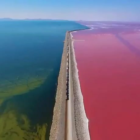 Aerial view of The Great Salt Lake in Utah.