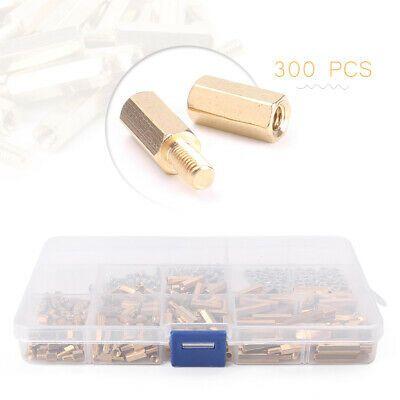 300pcs Standoffs Brass Spacer Hex Column Screw Nut Assortment with Box