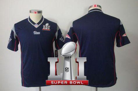 c1128e29c39 ... Elite Player Jersey Nike Patriots Blank Navy Blue Team Color Super Bowl  LI 51 Youth Stitched NFL Limited Jersey ...