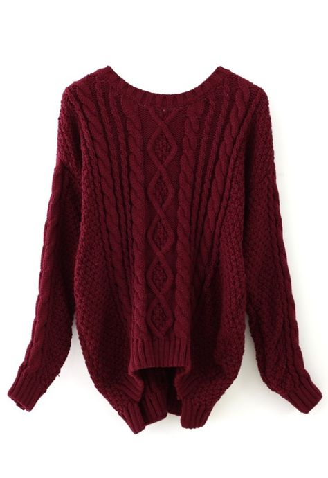 Over sized Wine Red Cable Knit Sweater. i can't even describe how much I want this!!! Found on chicwish.com