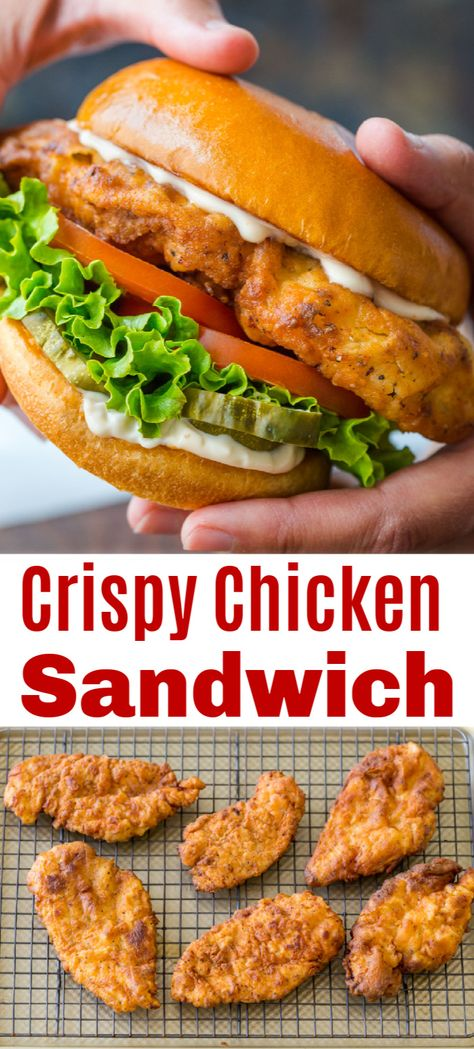 Easy Dinner Recipes, Easy Meals, Dinner Ideas, Quick Recipes, Chicken Sandwich Recipes, Recipe Chicken, Homemade Chicken Burgers, Fried Chicken Breast, Vegetarian Recipes