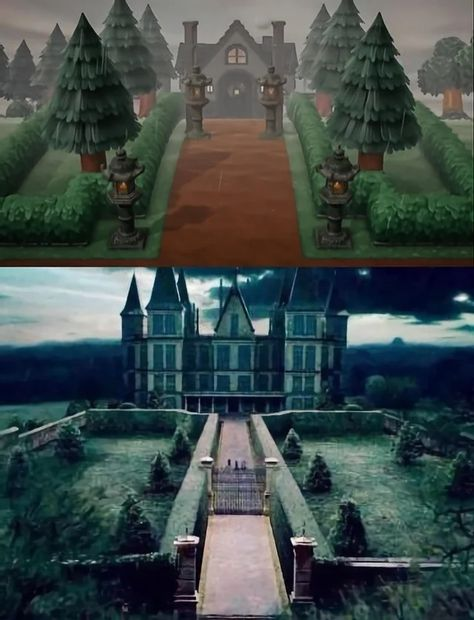 Animal Crossing Movie, Animal Crossing Guide, Animal Crossing Characters, Spooky House, Witch House, House Entrance, Grand Entrance, Island Theme, Landscape Model