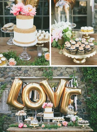 gold LOVE balloons behind the dessert table. Great for a bridal shower or engagement party!?