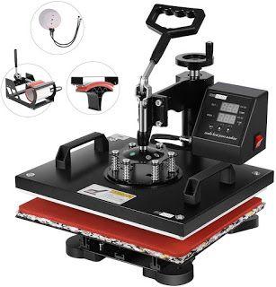 Vivohome 5 In 1 Swing Away Clamshell Printing Heat Press Machine For T Shirt Hat Cap Mug Plate Heat Press Transfers Heat Press Machine Press Machine