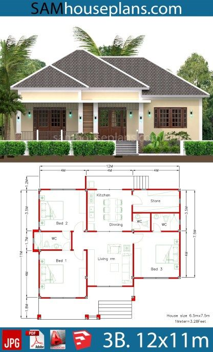 House Plans 12x11m With Full Plan 3beds Sam House Plans In 2020 Modern Bungalow House Modern Bungalow House Design House Plan Gallery