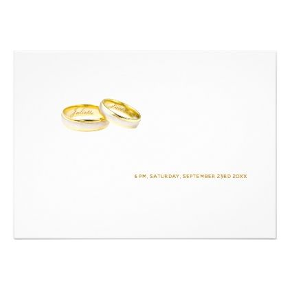 Elegant Trendy Gold And White With Wedding Rings Invitation