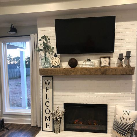 """Fireplace Mantel Custom Chunky Long Rustic 8 by 8 """" Hand Hewn Solid Pine Antique Look - Fireplace mantels Rustic Fireplace Mantels, Brick Fireplace Makeover, Home Fireplace, Farmhouse Fireplace, Fireplace Design, Custom Fireplace, Fireplace Ideas, Brick Fireplace Remodel, Painted Brick Fireplaces"""