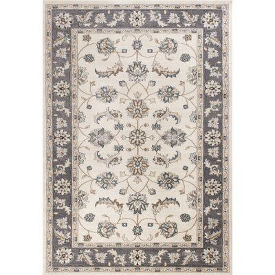Charlton Home Arnot Ivory Gray Area Rug Rug Size Rectangle 7 10 X 9 10 Floral Rug Area Rugs Rugs