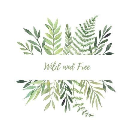 手描き水彩イラスト 緑の葉 枝 ハーブ植物ラベル 花のデザイン要素です 結婚式招待状 グリーティング カード 版画 ポスター パッキン等に最適 手のスケッチ 水彩イラスト 花 壁紙