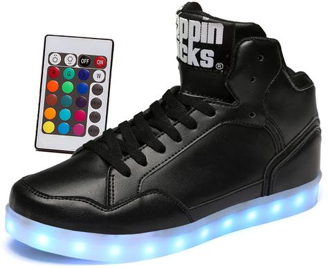 a648138df21 LED Light Up Shoes with Remote Control Boy & Girl Leather High Top Sneaker  Black 3.5 M US Big Kid. 7 Static Colors: Red, Green, Blue, Lime, Teal, ...