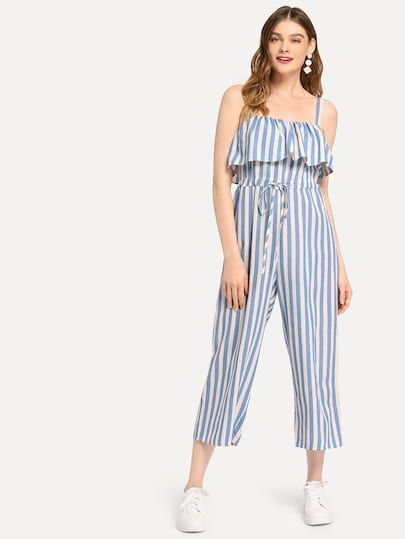To find out about the Flounce Trim Drawstring Waist Striped Jumpsuit at SHEIN, part of our latest Jumpsuits ready to shop online today!