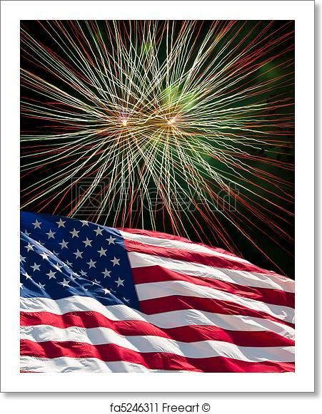 Free Art Print Of The American Flag And Fireworks Blue Fireworks Flag Photo Red And White