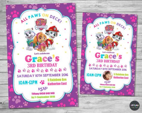 Details about PAW PATROL GIRL INVITATION INVITE BIRTHDAY PARTY CARD PERSONALISED PINK SKYE