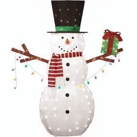 Snowman With Giftbox And Lights 72 In Outdoor Christmas Decorations Affordable Christmas Outdoor Snowman