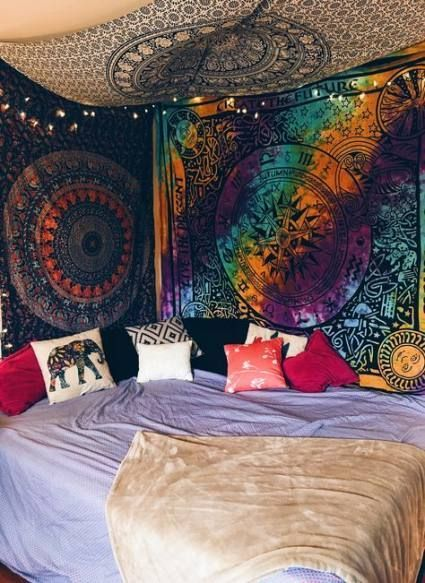 26 Ideas For Bedroom Ideas Bohemian Hippie Tapestries Bedroom