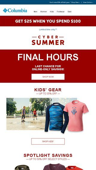 Last chance for Cyber Summer deals! - Columbia Sportswear