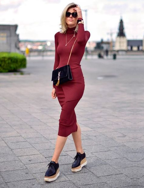 bodycon dress but coverage, funky shoes