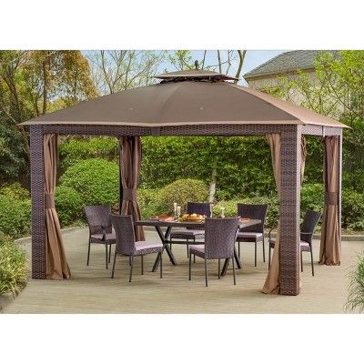 12 X10 Sonoma Wicker Gazebo With Netting And Curtain Brown