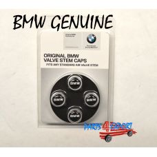 BMW ROUNDEL LOGO TIRE VALVE STEAM CAP SET CAPS NEW ORIGINAL SET OF 4 GENUINE OEM