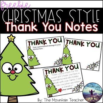 Editable Christmas Thank You Card Template Students Christmas Christmas School Christmas Kindergarten