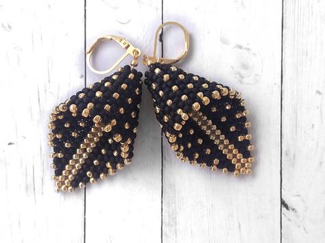 Black Gold Beadwork Earrings Calla Lily Dot