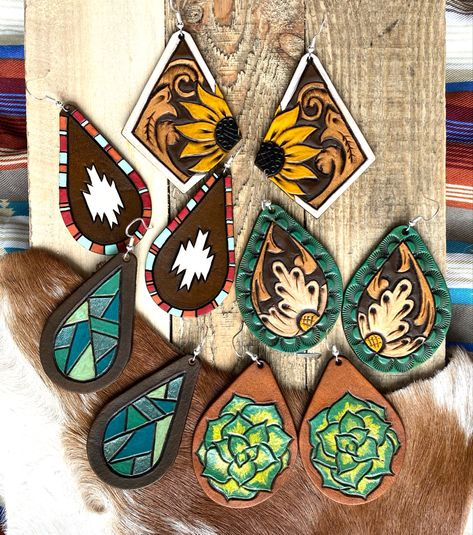 Wood Earrings, Diy Earrings, Leather Earrings, Leather Jewelry, Leather Art, Custom Leather, Tooled Leather, Cute Jewelry, Jewelry Crafts