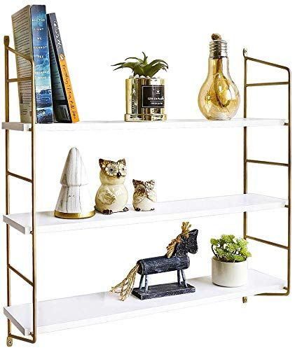 The Boluo Gold Wall Shelf Modern White Floating Shelves Bathroom 3 Tier Mounted Shelving Bedroom 24 Inch Online Shopping In 2020 Shelves In Bedroom Floating Shelves Bathroom Wall Shelves