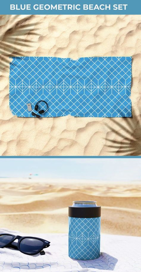 Going to the beach? Wait make your beach time fun and cheerful with this Blue geometric beach set. This has a Blue geometric Can Cooler and beach towel. ecofriendly reusable stainless steel can cooler can hold 12 oz of your drinks. Blue beach towels are oversized beach towels and super absorbent. The best gift for beach lovers. Cans keep drinks cold or hot for hours#beachtowel #beach #summer #towel #beachlife #beachaccessories #summervibes #oversizedbeachtowel #colorfulbeachtowel #bluetowel