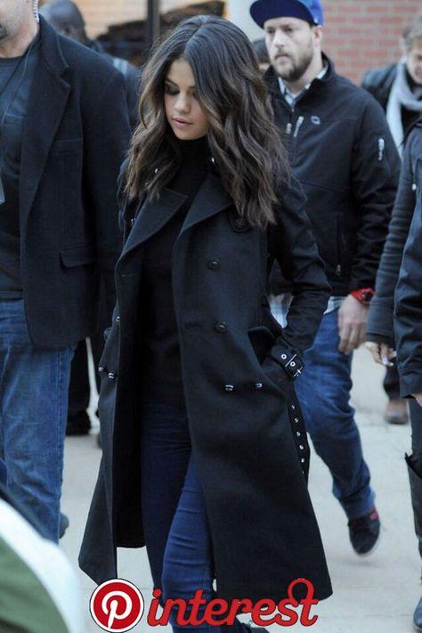 gomez Black Hair Selena Gomez winter street style with black coat. Selena Gomez winter street style with black coat.